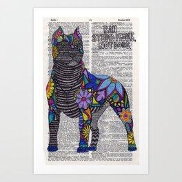 Whimsical Pitbull Dancing on Words Art Print