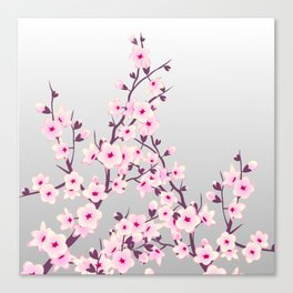 Cherry Blossoms Pink Gray Canvas Print