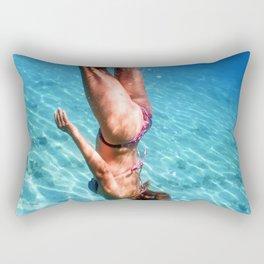 Beautiful Women Snorkeling in the Tropical Sea, Underwater Sandy Bottom Rectangular Pillow
