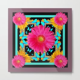 Western Black & Puce Pink Flower Blue Butterfly Yellow Floral Art Metal Print