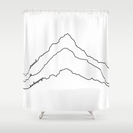 Tallest Mountains in the World B&W / Mt Everest K2 Kanchenjunga / Minimalist Line Drawing Art Print Shower Curtain