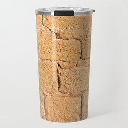 Close up view of an ancient smooth textured brick wall Travel Mug