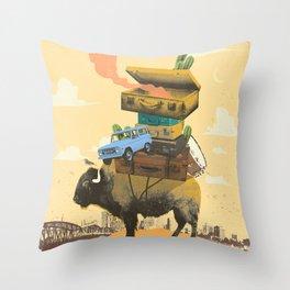BUFFALO TRAVELS Throw Pillow
