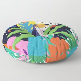 Bold Tropical Jungle Abstraction With Toucan Memphis Style Floor Pillow