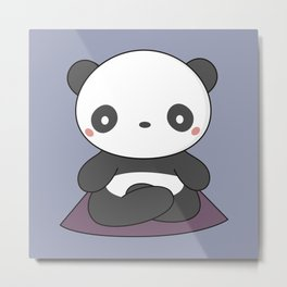 Kawaii Cute Yoga Panda Metal Print