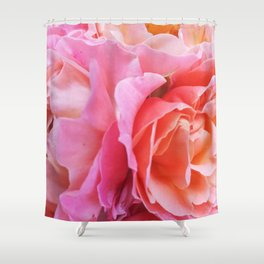 Pink Roses Bouquet Petals Texture Shower Curtain