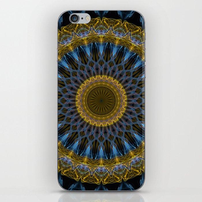 Mandala in golden and blue tones iPhone Skin
