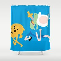 finn and jake Shower Curtains featuring Jake the dog and Finn the human by OverClocked