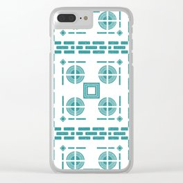 Mediterranean Pattern 5 - Tile Pattern Designs - Geometric - Blue - Ceramic Tile - Surface Pattern Clear iPhone Case