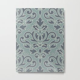 Scroll Damask (outline) Pattern Blue Cream Teal Metal Print