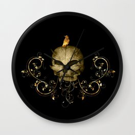 Golden skull with crow Wall Clock