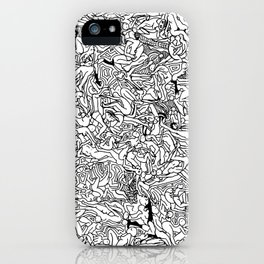 Lots of Bodies Doodle in Black and White iPhone Case