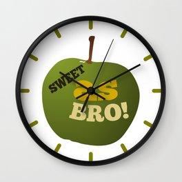 Green apple SWEET AS BRO Wall Clock