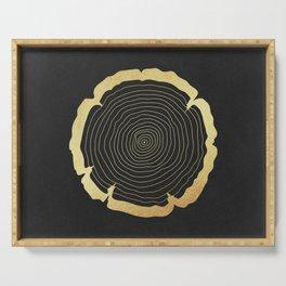 Metallic Gold Tree Ring on Black Serving Tray