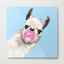 Bubble Gum Sneaky Llama in Blue Metal Print