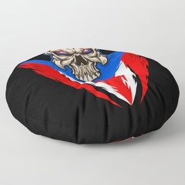 Puerto Rico Baseball Skull Floor Pillow