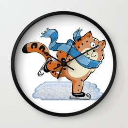 Spotted Ginger Cat with Scarf Ice Skating on Pond Wall Clock