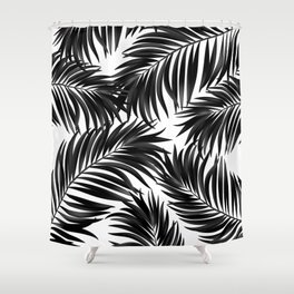 Palm Tree Fronds Black on White Maui Hawaii Tropical Graphic Design Shower Curtain