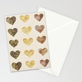Gold and Chocolate Brown Hearts Stationery Cards