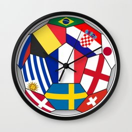 Football ball with various flags - semifinal and final Wall Clock