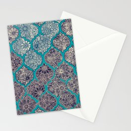 Moroccan Floral Lattice Arrangement - teal Stationery Cards