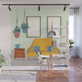 Hanging Plants And A French Bulldog In A Midcentury Interior Wall Mural
