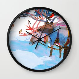 Reindeers and friends Wall Clock