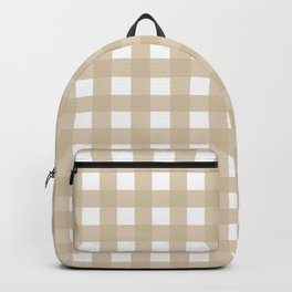 Farmhouse Gingham in Burlap Backpack