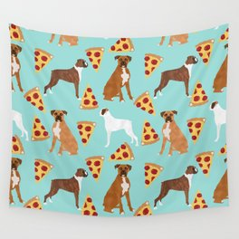 boxer pizza dog lover pet gifts cute boxers pure breeds Wall Tapestry