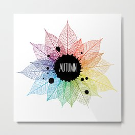 Lettering Autumn on backdrop with skeleton leaves. Autumn background. Metal Print