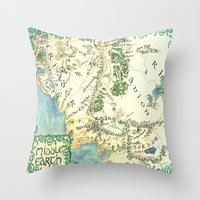 middle earth Throw Pillows featuring Middle Earth map by Ioreth
