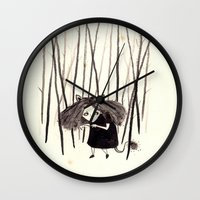 into the wild Wall Clocks featuring wild by Soju Shots