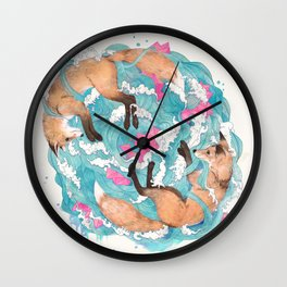 falling foxes Wall Clock