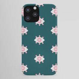 Evil Eye Dots – Teal & Pink iPhone Case