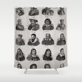 Vintage Scientists Poster, 1825 (Mathematicians & Astronomers) Shower Curtain