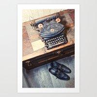typewriter Art Prints featuring Typewriter by Shaun Lowe