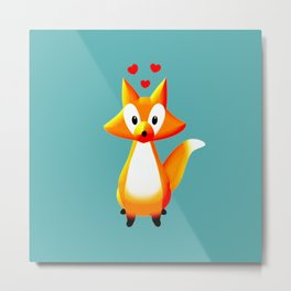 Cute Cartoon Fox Metal Print