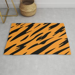 Bold and Beautiful Black and Orange Abstract Tiger Striped Pattern Rug