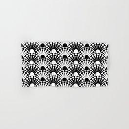 black and white art deco inspired fan pattern Hand & Bath Towel