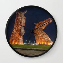 The Kelpies in Falkirk, Scotland Wall Clock