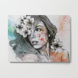 Mascara (expressive female portrait with freesias) Metal Print
