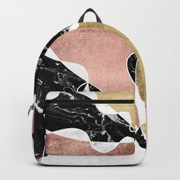 Modern white black marble rose gold foil color block handdrawn geometric lines Backpack