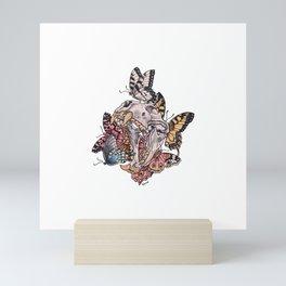 Skull and butterflies Mini Art Print