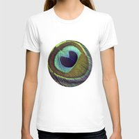 peacock feather T-shirts featuring peacock feather by AnnaGo