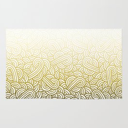 Gradient yellow and white swirls doodles Rug