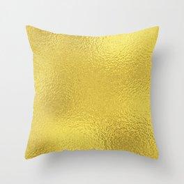 Simply Metallic in Yellow Gold Throw Pillow
