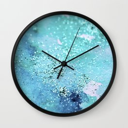 Blue Turquoise Glitter Watercolor Art Original Painting Wall Clock