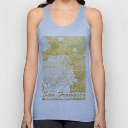 San Francisco Map Gold Unisex Tank Top
