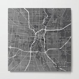 San Antonio Map, USA - Gray Metal Print