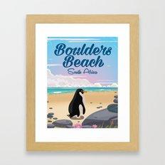 Boulders Beach South african penguin travel poster Framed Art Print